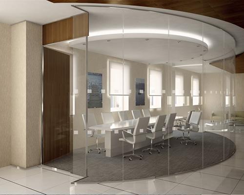 شیشه لمینت هوشمند و صندلی سفید و میز سفید