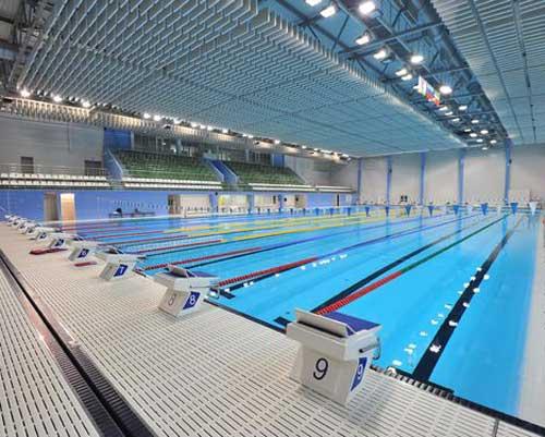استخر قهرمانی با خطوط راه مجزا برای مسابقات شنا