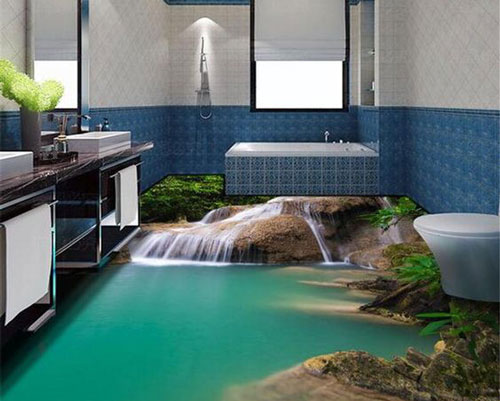 ایجاد آرامش در فضای سرویس بهداشتی و حمام با استفاده از کفپوش سه بعدی