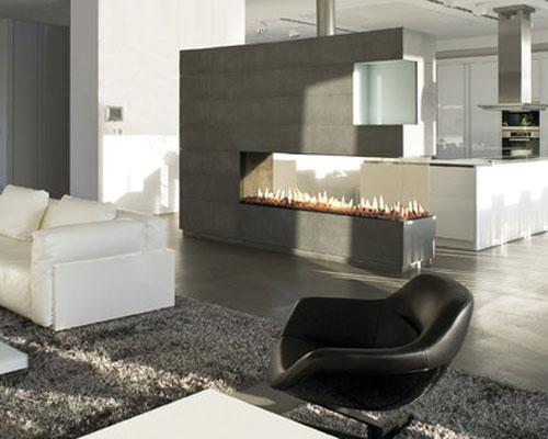 امکان لذت بردن از شومینه و تماشای آن ، همزمان از دو بخش مختلف اتاق و یا دو اتاق در شومینه های دو طرفه