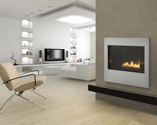 استفاده از متریال های مدرن مانند سنگ مرمر ، شیشه و استیل در شومینه های مدرن و جدید