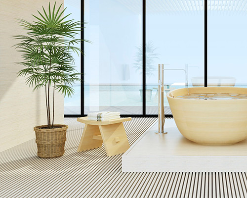 در این عکس یک کفپوش سه بعدی حمام نمایش داده شده است که بسیار زیبا و کاراست