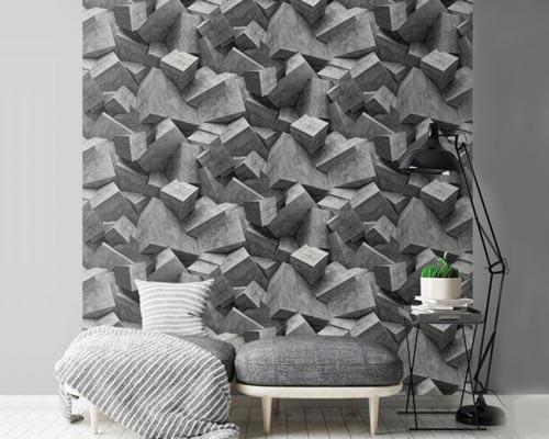 الگوی منظم رول های کاغذ دیواری سه بعدی و قرارگیری آن ها کنار هم از طریق چسباندن روی هر جنس سطح دیوار