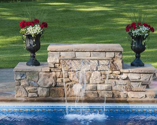 آبنمای آبشاری استخر گلدان نمای سنگ