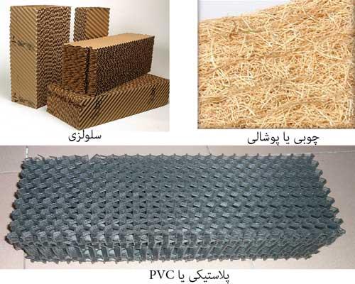 پد سلولزی پوشال پوشالی چوبی پلاستیکی pvc انواع مختلف