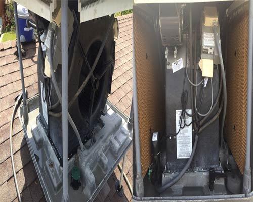 تعمیر و نگهداری کولر آبی سلولزی پمپ فن دمنده سیستم برقی بلور پد سلولی پوشال سلولزی شناور