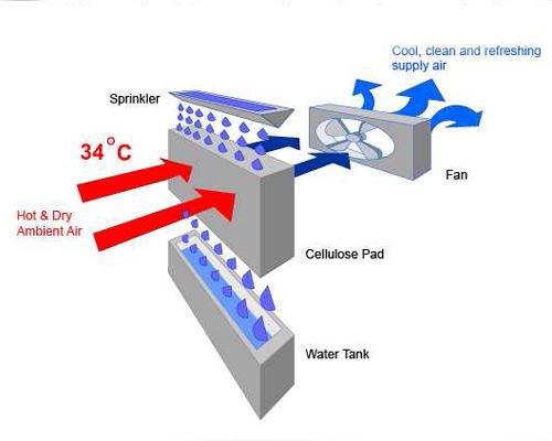 عملکرد کولر آبی سلولزی با پد سلولزی هوای گرم و خشک هوای خنک
