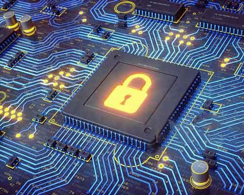 قفل طلایی روشن مدار میکرو سیستم امنیتی هوشمند مدار
