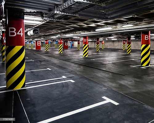 پارکینگ عمومی هوشمند بی ام اس قرمز زرد سیاه