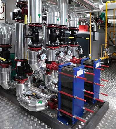 مبدل حرارتی صفحه ای آبی لوله کشی موتورخانه