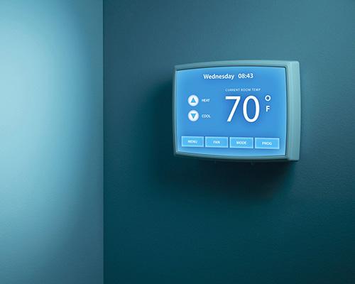 نمایش دمای ساختمان هوشمند توسط ترموستات