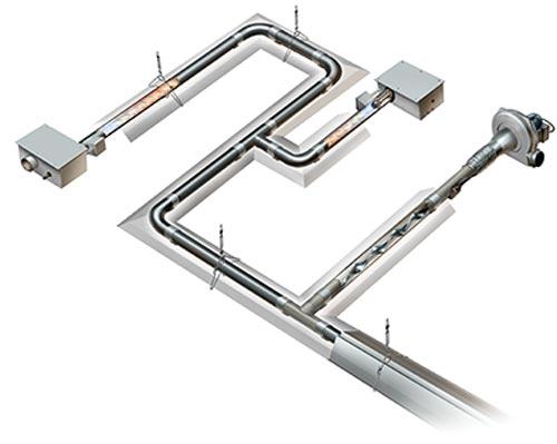 یکی از انواع گرمایش تابشی های لوله ای باشدت کم که سیستم های خلاء چند مشعل نشان داده شده است