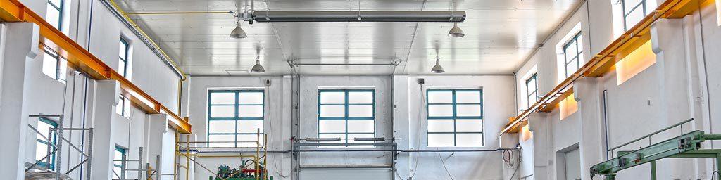 هیترتابشی در یک سالن صنعتی نشان داده شده است
