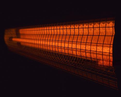 گرمایش تابشی برقی ساخته شده با رشته تنگستن نشان داده شده است