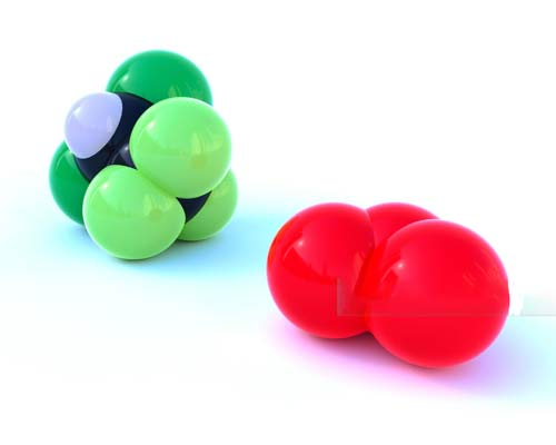 تصویر یک مولکول ازون به رنگ قرمز و یک مولکول کلر به رنگ سبز