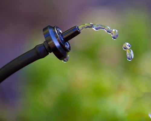 نمايي نزديک از قطره چکان سيستم آبياري با قطرات آب که در هوا معلق هستند