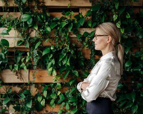 چهارچوبي وجود دارد که گياهان زنده را بر روي خود قرار داده است و خانمي که نزديک ديوار ايستاده و به بيرون نگاه مي کند