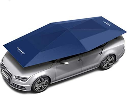 سازه کششي پارچه اي که بر روي خودرو نصب شده تا در برابر آفتاب و باران محافظت شود